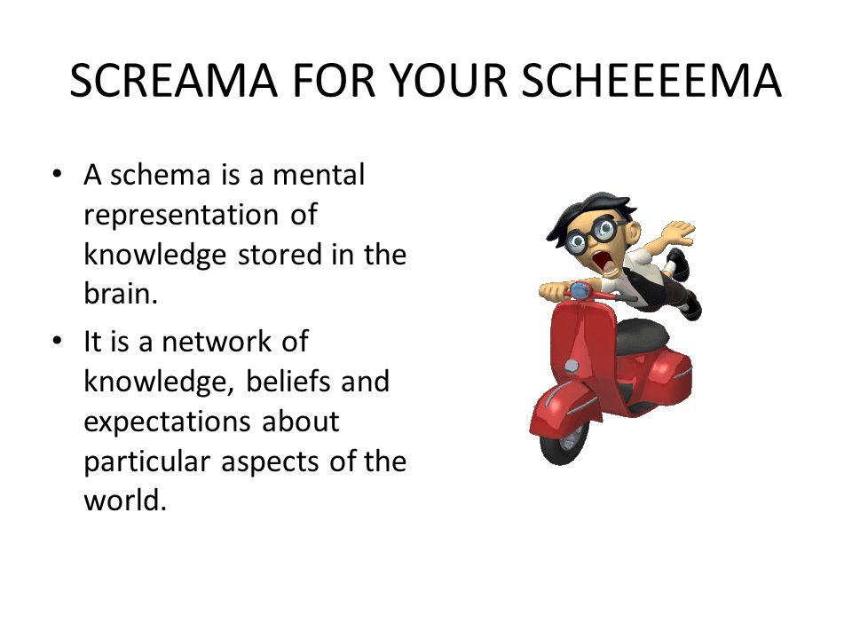 SCREAMA FOR YOUR SCHEEEEMA A schema is a mental representation of knowledge stored in the brain. It is a network of knowledge, beliefs and expectation