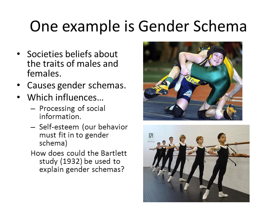 One example is Gender Schema Societies beliefs about the traits of males and females. Causes gender schemas. Which influences… – Processing of social