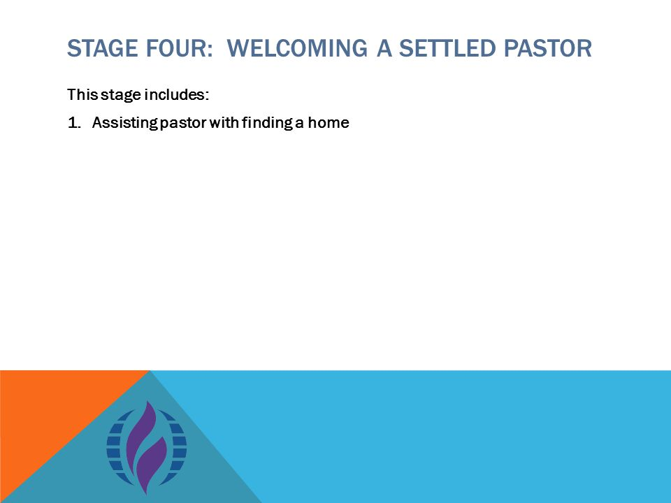 STAGE FOUR: WELCOMING A SETTLED PASTOR This stage includes: 1.Assisting pastor with finding a home