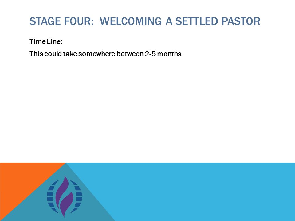 STAGE FOUR: WELCOMING A SETTLED PASTOR Time Line: This could take somewhere between 2-5 months.
