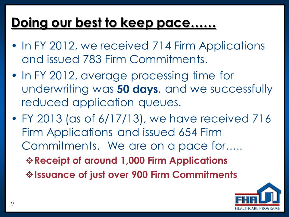 9 Doing our best to keep pace…… In FY 2012, we received 714 Firm Applications and issued 783 Firm Commitments.