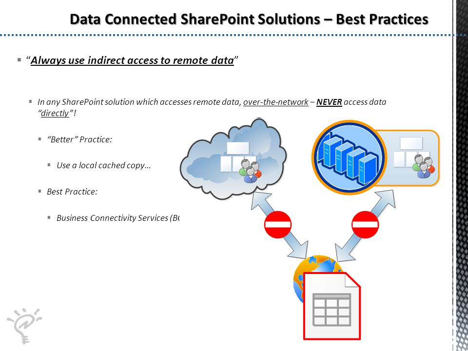 Always use indirect access to remote data In any SharePoint solution which accesses remote data, over-the-network – NEVER access datadirectly.