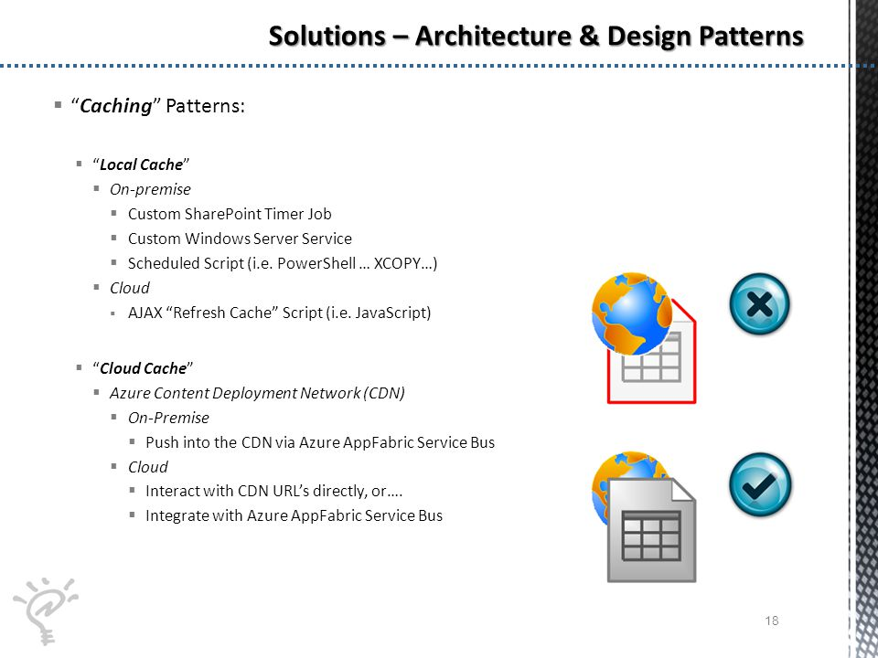 Caching Patterns: Local Cache On-premise Custom SharePoint Timer Job Custom Windows Server Service Scheduled Script (i.e.