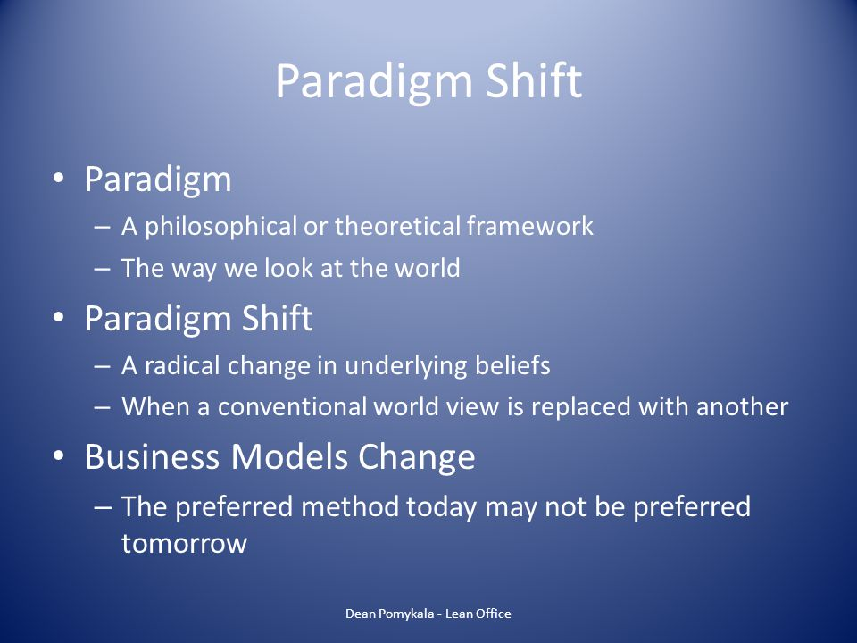 Paradigm Shift Paradigm – A philosophical or theoretical framework – The way we look at the world Paradigm Shift – A radical change in underlying beli