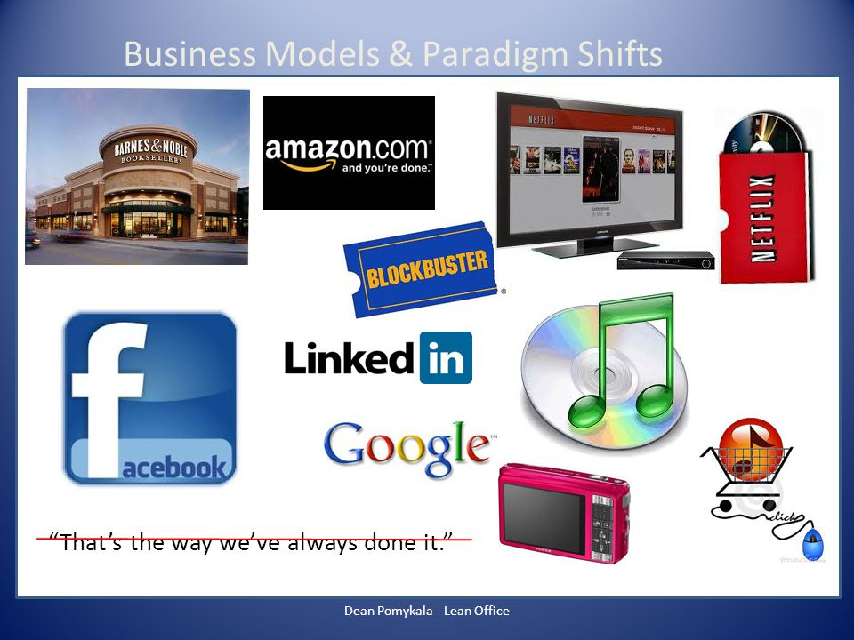 Thats the way weve always done it. Business Models & Paradigm Shifts Dean Pomykala - Lean Office