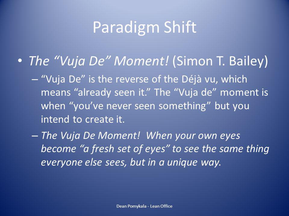 Paradigm Shift The Vuja De Moment! (Simon T. Bailey) – Vuja De is the reverse of the Déjà vu, which means already seen it. The Vuja de moment is when