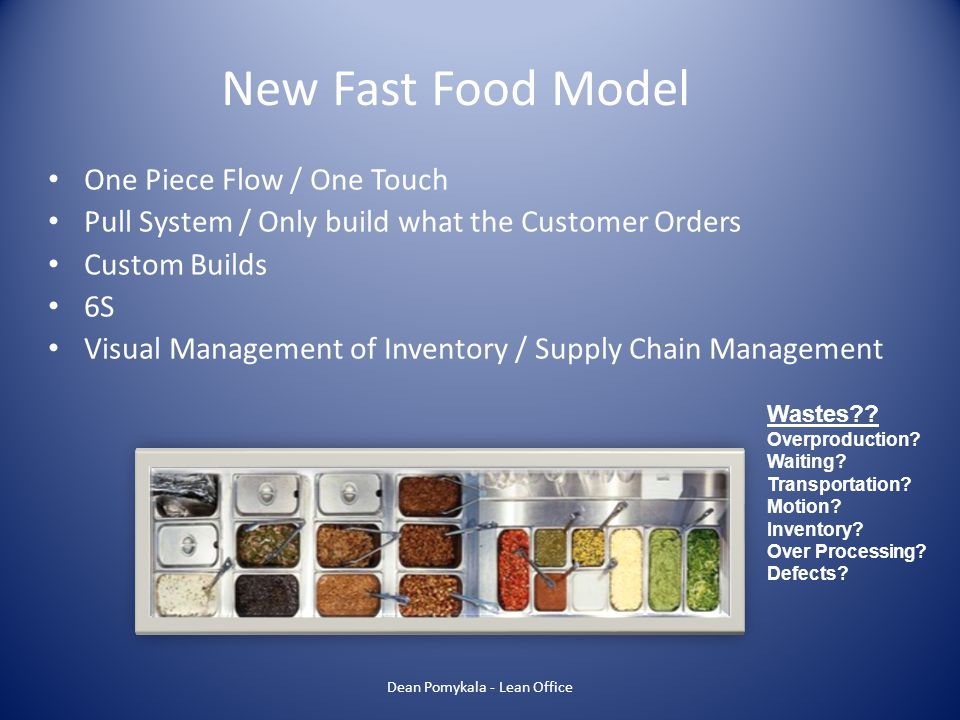 One Piece Flow / One Touch Pull System / Only build what the Customer Orders Custom Builds 6S Visual Management of Inventory / Supply Chain Management