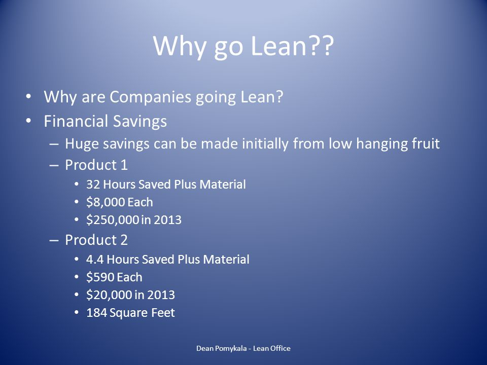 Agenda My Bio Lean Overview – What is Lean.Why go Lean.