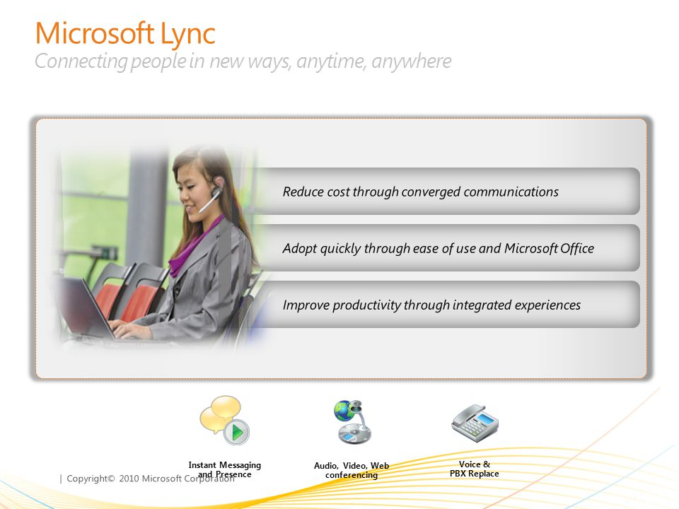 | Copyright© 2010 Microsoft Corporation Microsoft Lync Connecting people in new ways, anytime, anywhere Adopt quickly through ease of use and Microsof