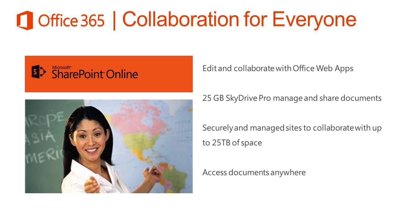 Edit and collaborate with Office Web Apps 25 GB SkyDrive Pro manage and share documents Securely and managed sites to collaborate with up to 25TB of s