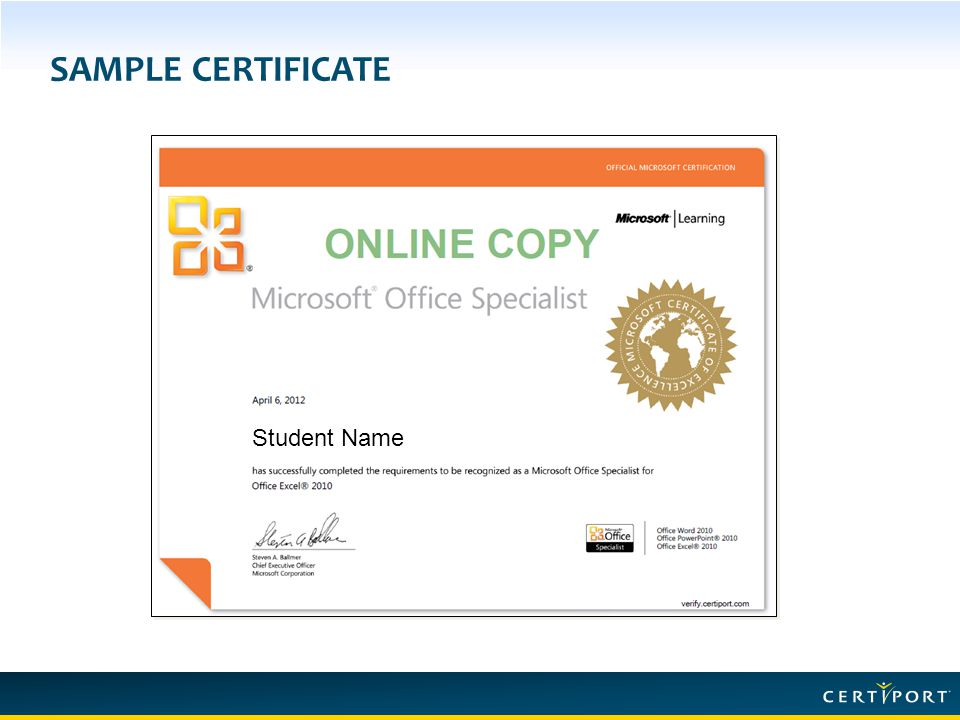SAMPLE CERTIFICATE Student Name