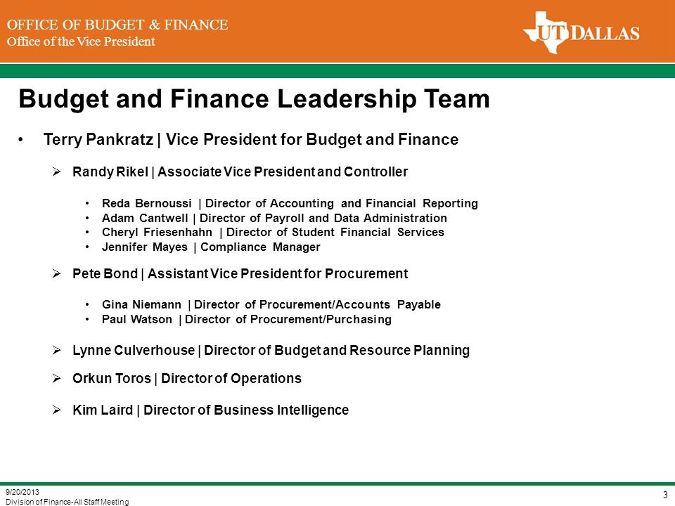 DIVISION OF FINANCE Office of the Vice President for Finance OFFICE OF BUDGET & FINANCE Office of the Vice President Budget and Finance Leadership Tea