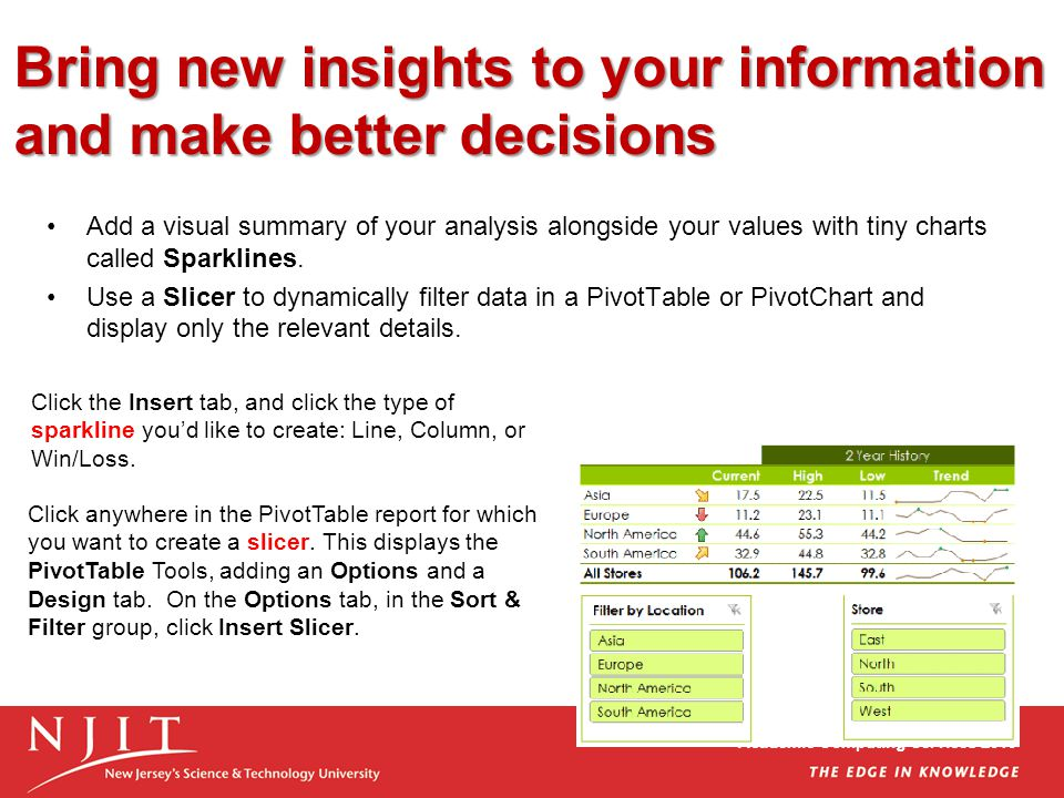 Academic Computing Services 2010 Bring new insights to your information and make better decisions Add a visual summary of your analysis alongside your values with tiny charts called Sparklines.