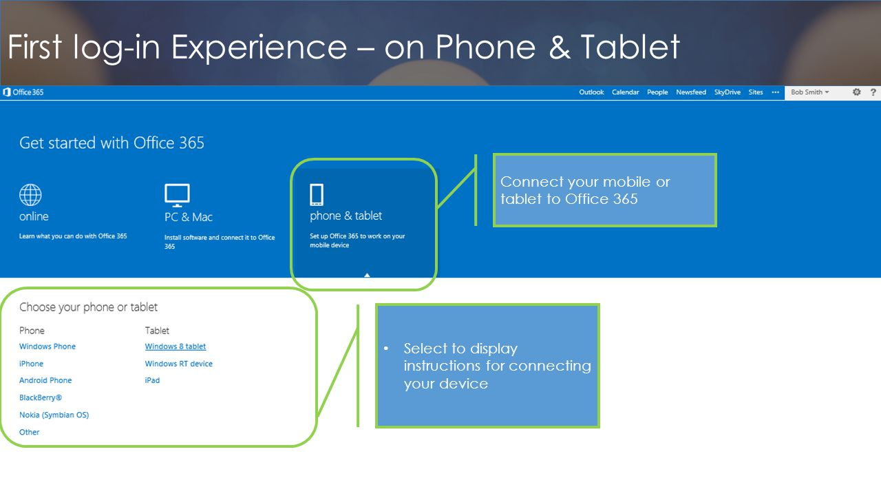 First log-in Experience – on Phone & Tablet Connect your mobile or tablet to Office 365 Select to display instructions for connecting your device
