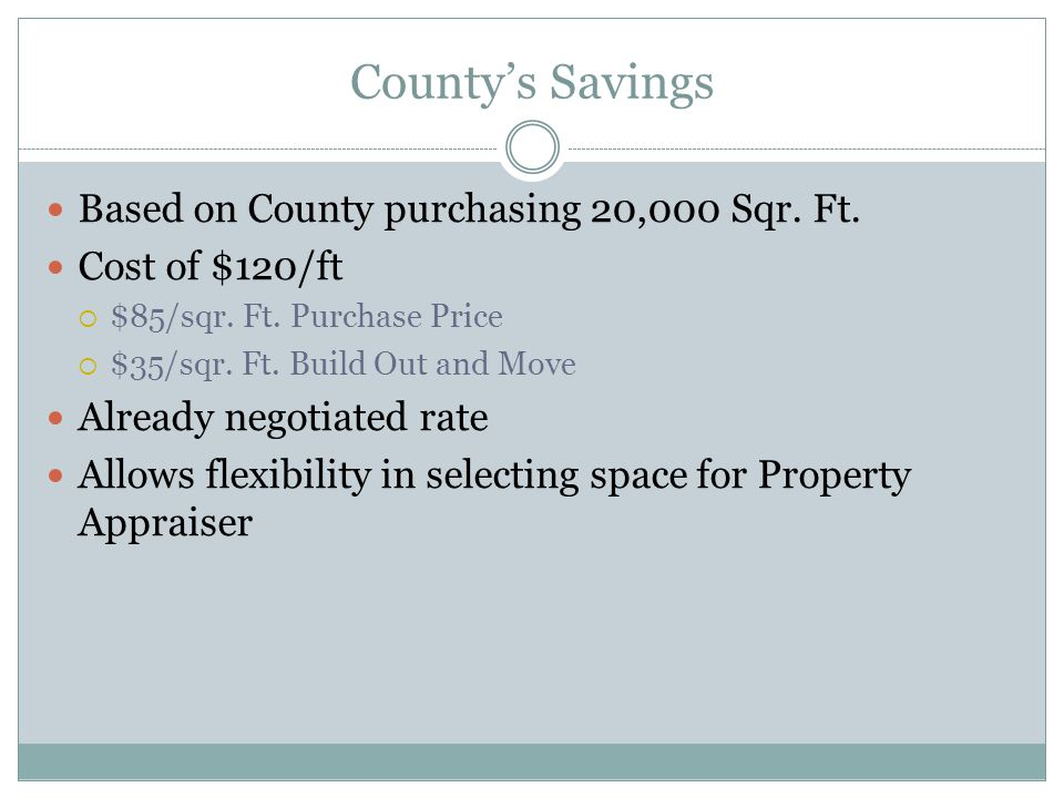Countys Savings Based on County purchasing 20,000 Sqr. Ft. Cost of $120/ft $85/sqr. Ft. Purchase Price $35/sqr. Ft. Build Out and Move Already negotia