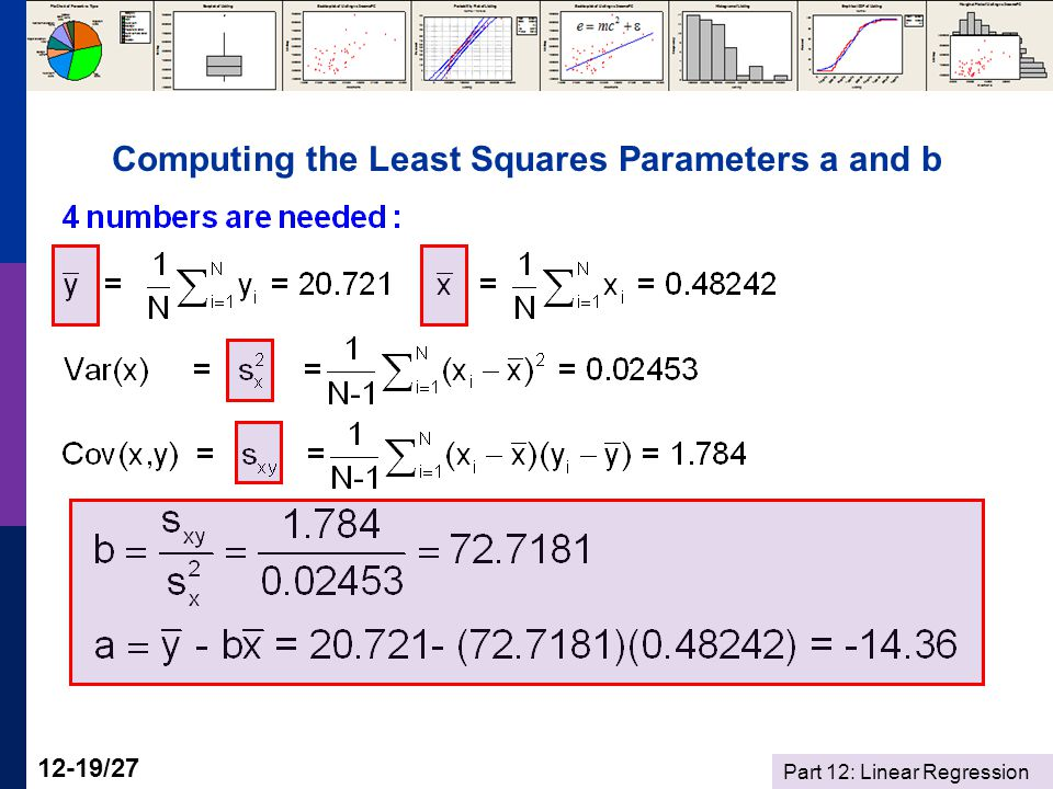 Part 12: Linear Regression 12-19/27 Computing the Least Squares Parameters a and b