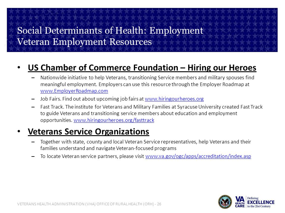 VETERANS HEALTH ADMINISTRATION (VHA) OFFICE OF RURAL HEALTH (ORH) - 26 Social Determinants of Health: Employment Veteran Employment Resources US Chamb