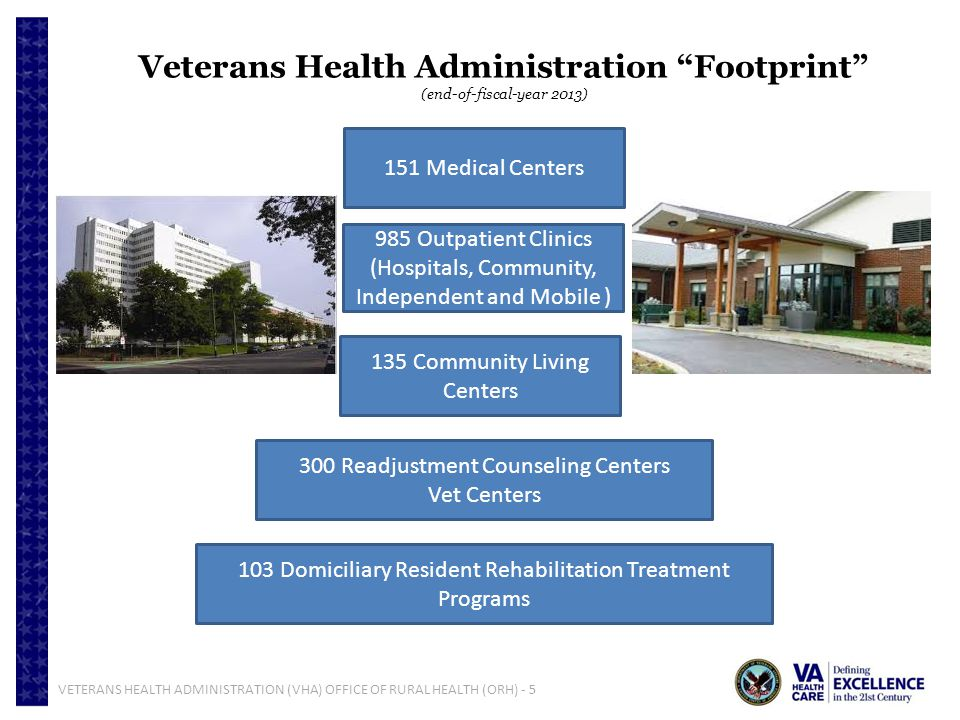 VETERANS HEALTH ADMINISTRATION (VHA) OFFICE OF RURAL HEALTH (ORH) - 5 Veterans Health Administration Footprint (end-of-fiscal-year 2013) 151 Medical C