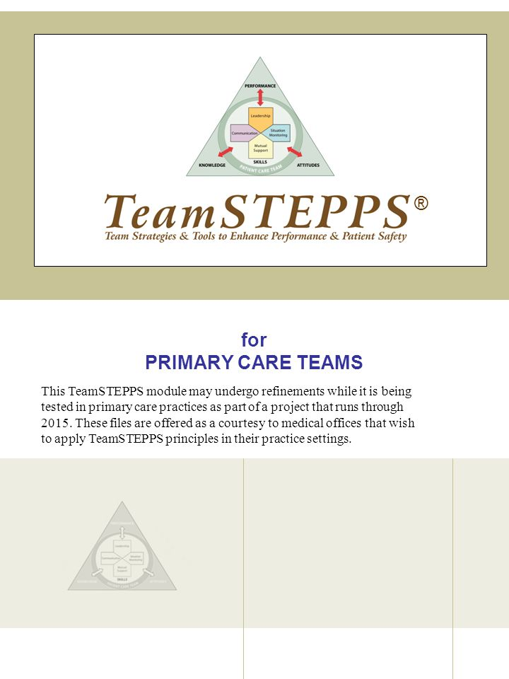 TeamSTEPPS | Primary Care Medical Office Based Teams TeamSTEPPS Slide COMMUNICATION VIDEO 62 VIDEO TIME: 3:32 minutes MATERIALS: Video SAY: Lets watch the fourth primary care office demonstrate proper team communication.