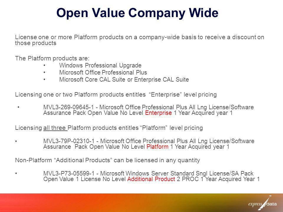 Open Value Company Wide License one or more Platform products on a company-wide basis to receive a discount on those products The Platform products ar