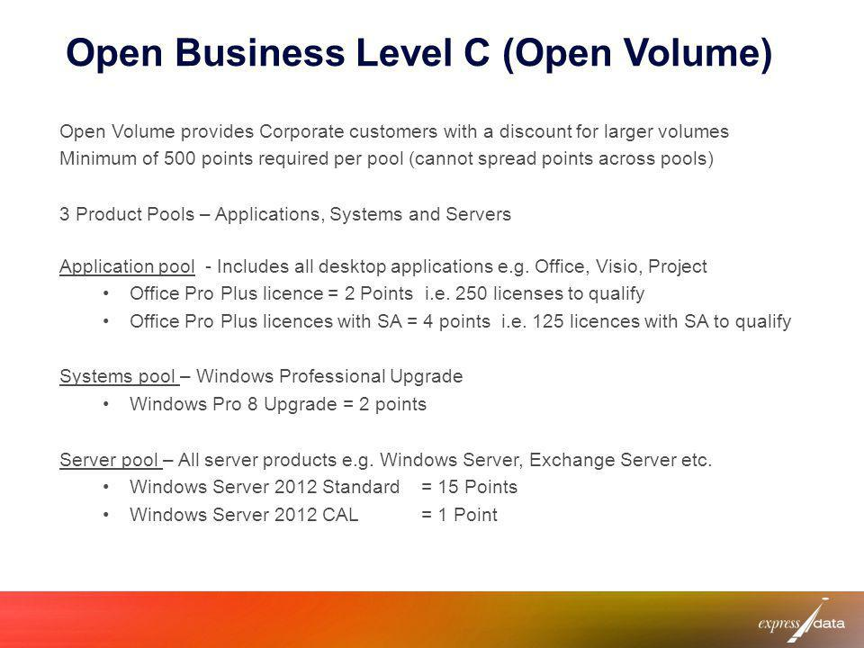 Open Business Level C (Open Volume) Open Volume provides Corporate customers with a discount for larger volumes Minimum of 500 points required per poo