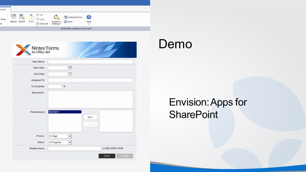 Demo Envision: Apps for SharePoint