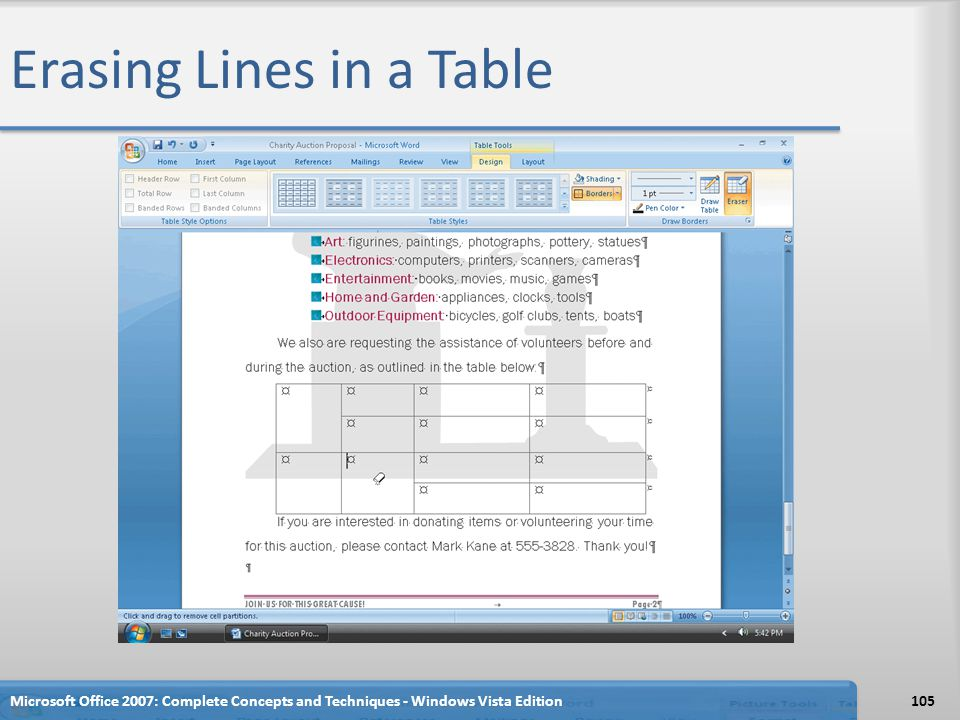 Erasing Lines in a Table Microsoft Office 2007: Complete Concepts and Techniques - Windows Vista Edition105