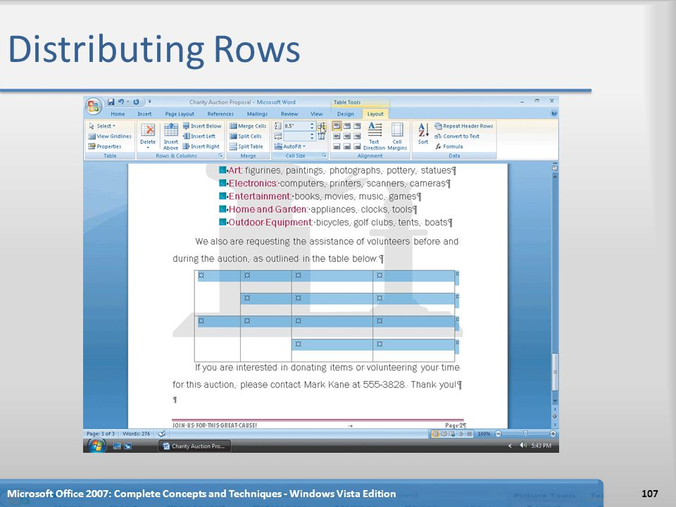 Distributing Rows Microsoft Office 2007: Complete Concepts and Techniques - Windows Vista Edition107