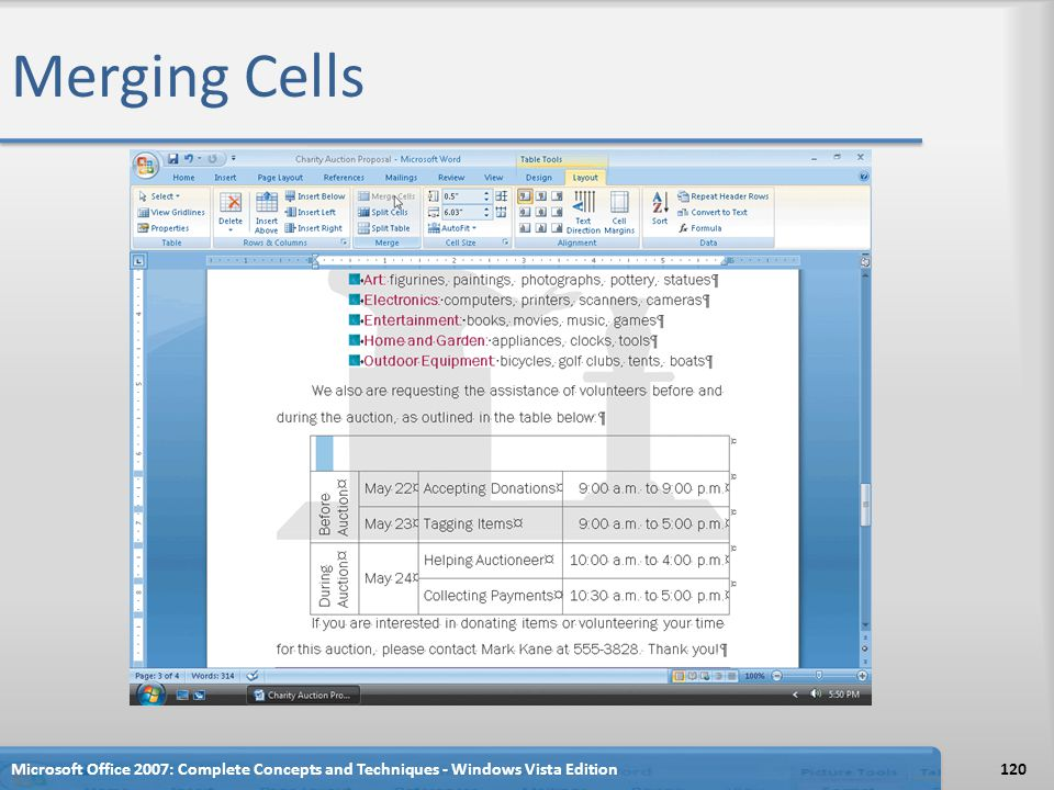 Merging Cells Microsoft Office 2007: Complete Concepts and Techniques - Windows Vista Edition120
