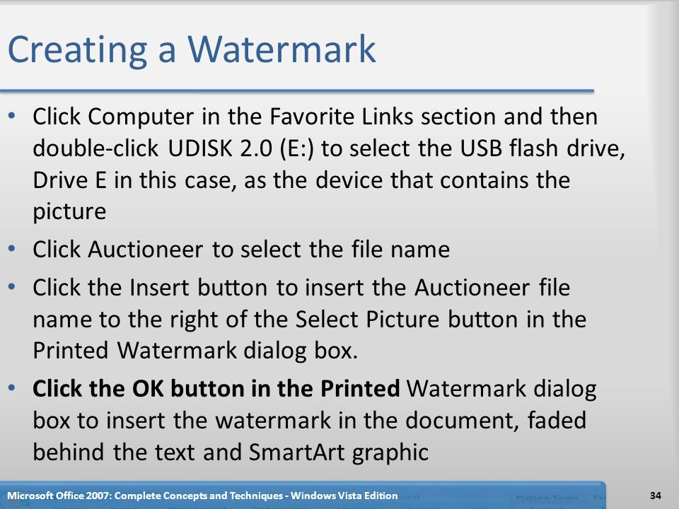 Creating a Watermark Click Computer in the Favorite Links section and then double-click UDISK 2.0 (E:) to select the USB flash drive, Drive E in this