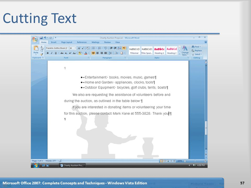Cutting Text Microsoft Office 2007: Complete Concepts and Techniques - Windows Vista Edition57