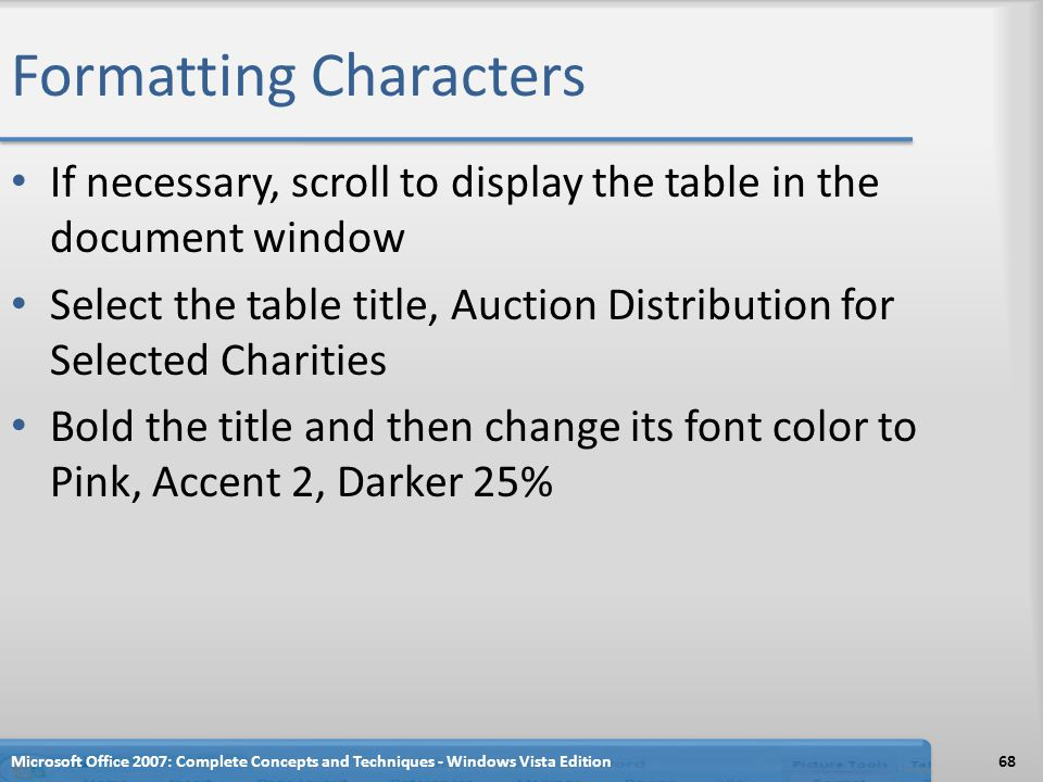 Formatting Characters If necessary, scroll to display the table in the document window Select the table title, Auction Distribution for Selected Chari