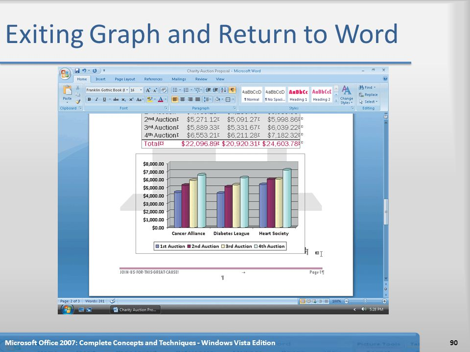Exiting Graph and Return to Word Microsoft Office 2007: Complete Concepts and Techniques - Windows Vista Edition90