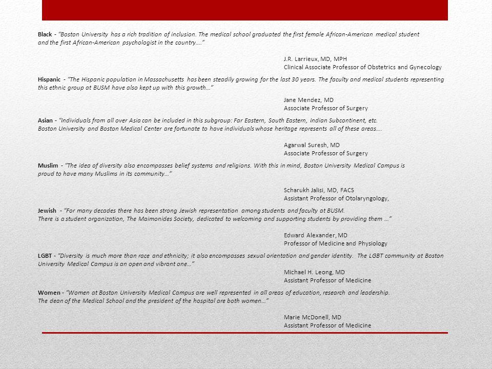 Black - Boston University has a rich tradition of inclusion.