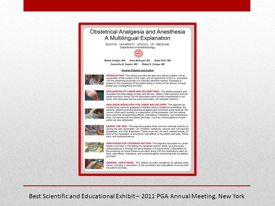 Best Scientific and Educational Exhibit – 2011 PGA Annual Meeting, New York