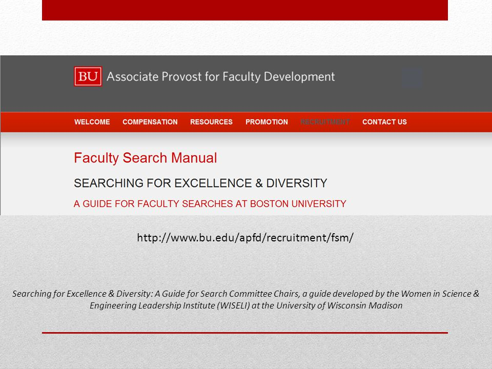 Searching for Excellence & Diversity: A Guide for Search Committee Chairs, a guide developed by the Women in Science & Engineering Leadership Institut