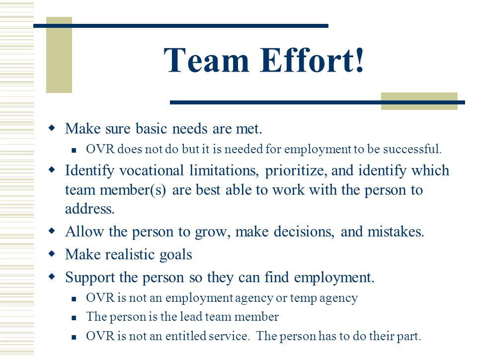 Team Effort. Make sure basic needs are met.