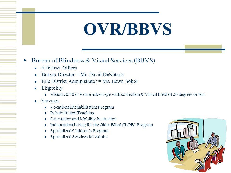 OVR/BBVS Bureau of Blindness & Visual Services (BBVS) 6 District Offices Bureau Director = Mr.