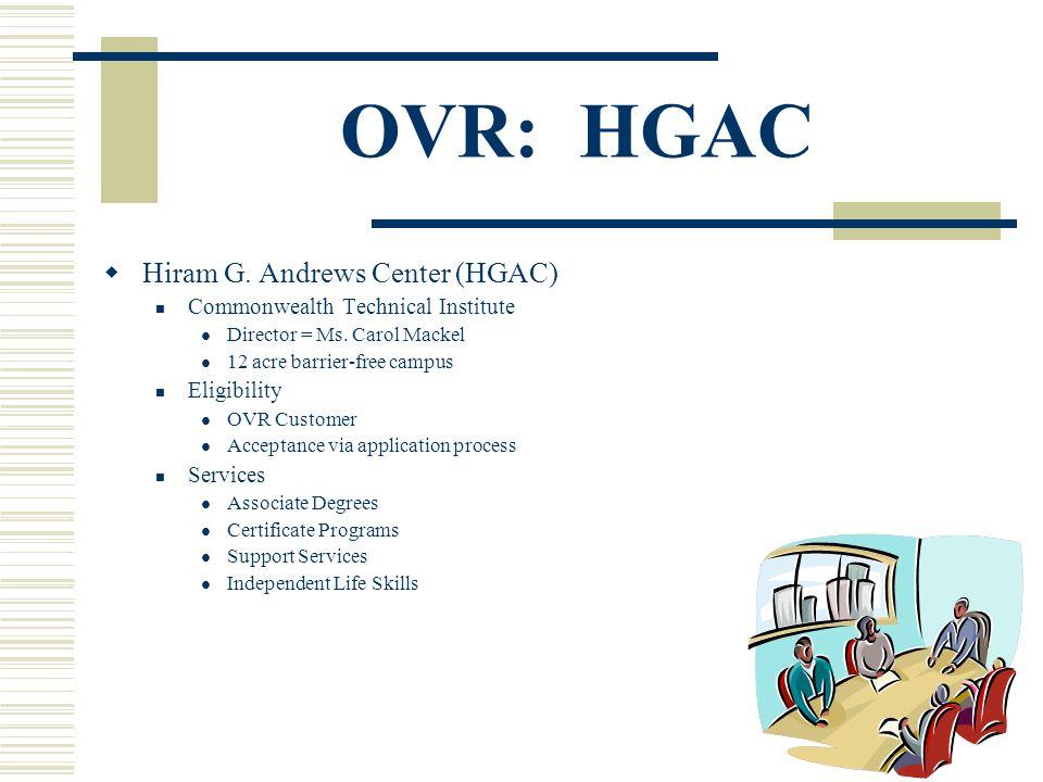 OVR: HGAC Hiram G. Andrews Center (HGAC) Commonwealth Technical Institute Director = Ms.