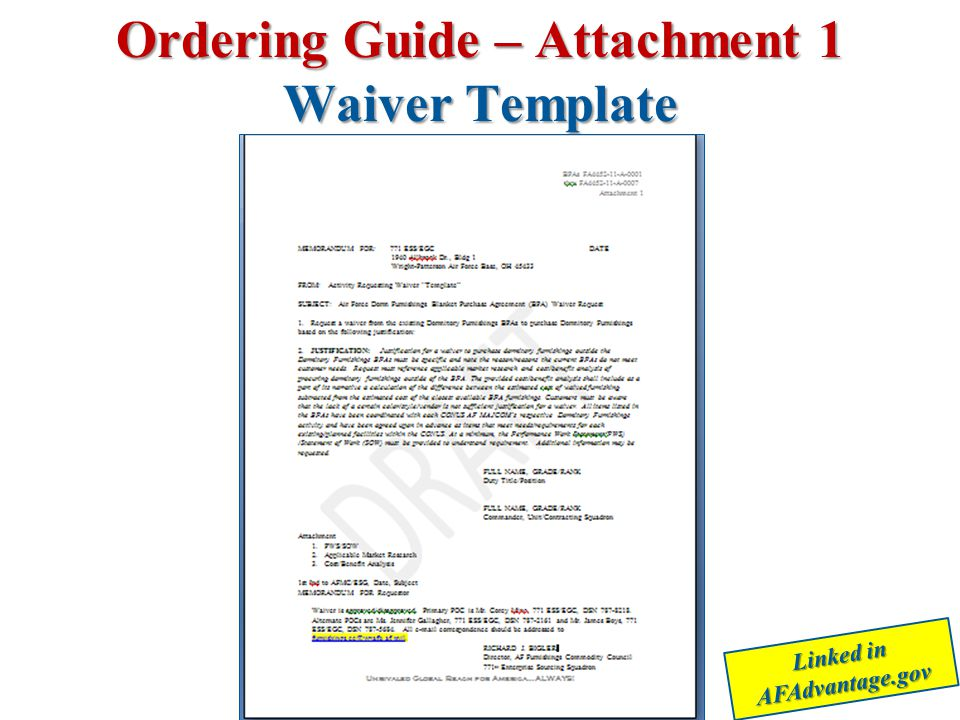 Ordering Guide – Attachment 1 Waiver Template