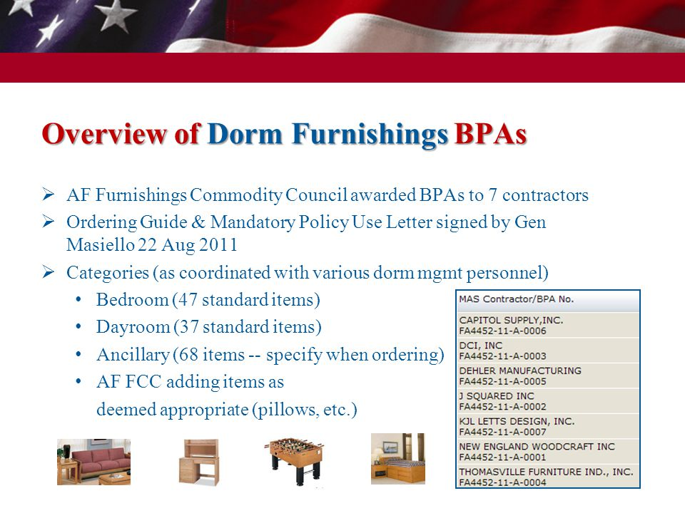 Overview of Office Seating BPAs AF Furnishings Commodity Council awarded BPAs to 8 contractors Ordering Guide & Mandatory Policy Use Letter signed by Gen Masiello 29 Sep 2011 17 Non-Wood + 14 Wood items Executive Level Seating Task Seating Conference Room Seating Guest/Side Seating 6