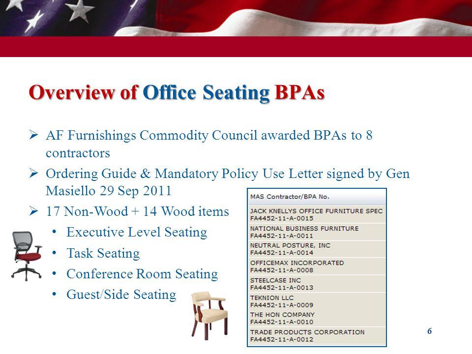 GSA eBuy Search Criteria: Seating Click BPA > SEATING link 27