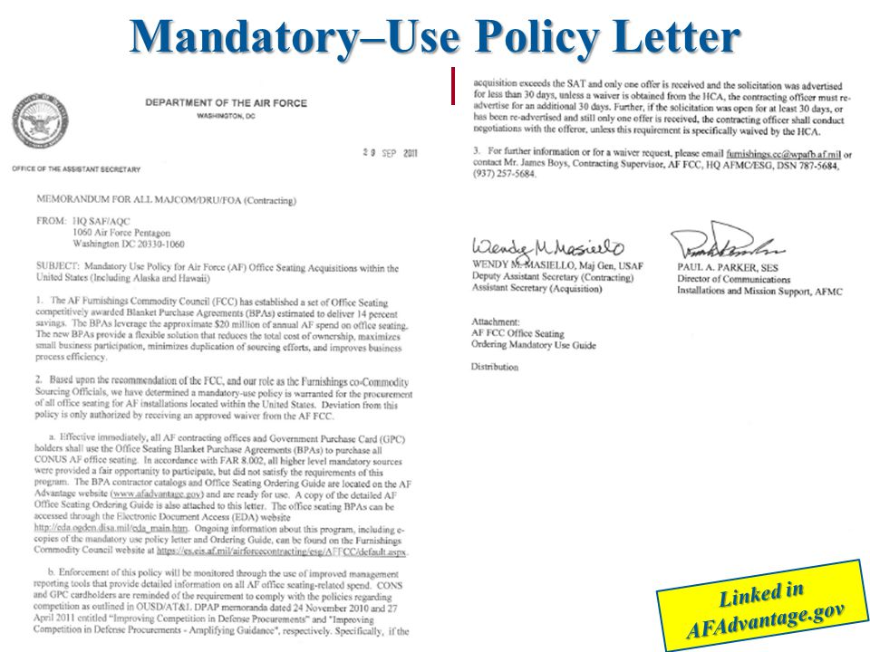 Linked in AFAdvantage.gov Mandatory–Use Policy Letter