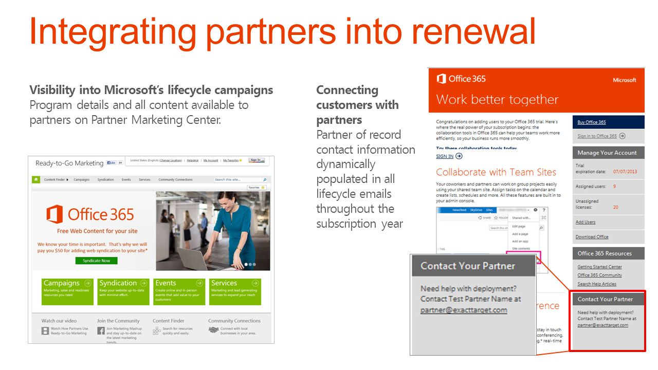 Visibility into Microsofts lifecycle campaigns Program details and all content available to partners on Partner Marketing Center.