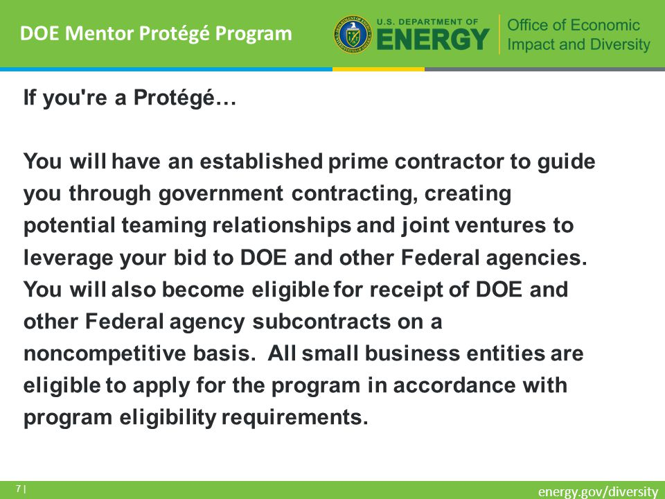 7 | energy.gov/diversity If you re a Protégé… You will have an established prime contractor to guide you through government contracting, creating potential teaming relationships and joint ventures to leverage your bid to DOE and other Federal agencies.
