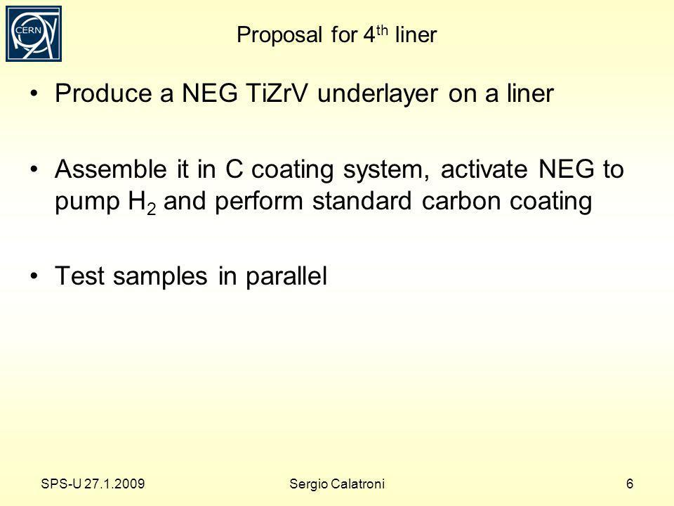 Proposal for 4 th liner Produce a NEG TiZrV underlayer on a liner Assemble it in C coating system, activate NEG to pump H 2 and perform standard carbon coating Test samples in parallel SPS-U 27.1.20096Sergio Calatroni