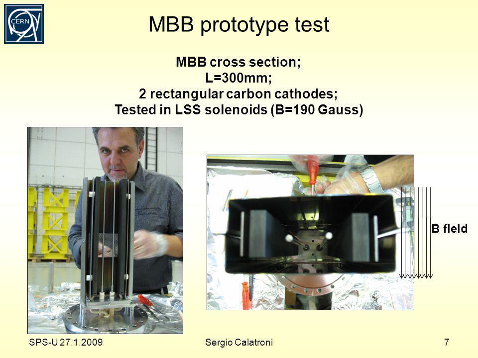 MBB prototype test MBB cross section; L=300mm; 2 rectangular carbon cathodes; Tested in LSS solenoids (B=190 Gauss) SPS-U 27.1.20098Sergio Calatroni