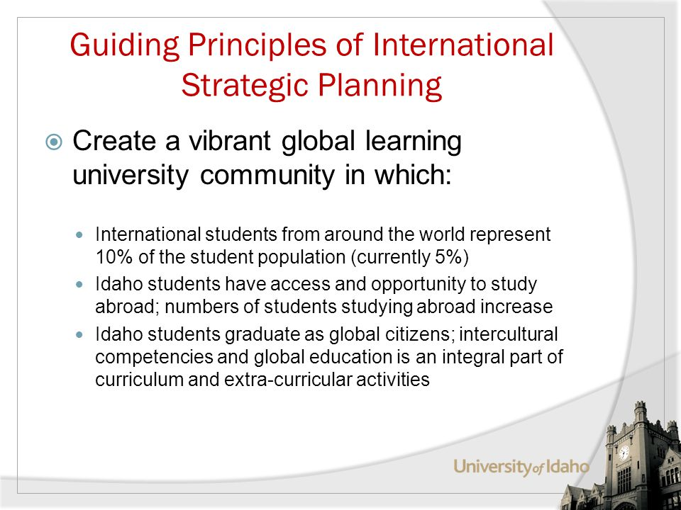 Guiding Principles of International Strategic Planning Create a vibrant global learning university community in which: International students from around the world represent 10% of the student population (currently 5%) Idaho students have access and opportunity to study abroad; numbers of students studying abroad increase Idaho students graduate as global citizens; intercultural competencies and global education is an integral part of curriculum and extra-curricular activities