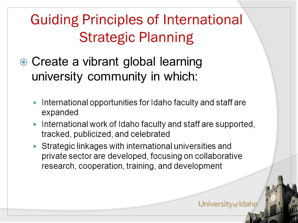 Guiding Principles of International Strategic Planning Create a vibrant global learning university community in which: International opportunities for Idaho faculty and staff are expanded International work of Idaho faculty and staff are supported, tracked, publicized, and celebrated Strategic linkages with international universities and private sector are developed, focusing on collaborative research, cooperation, training, and development