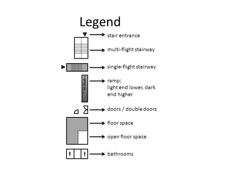 Legend ramp to … stair entrance multi-flight stairway single-flight stairway ramp; light end lower, dark end higher doors / double doors floor space open floor space bathrooms